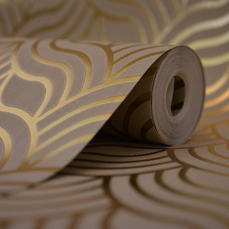 gold, black and silver art deco fabric and wallpaper, tile   Home Wallpaper Muriva Precious Silks Art Deco Wallpaper Beige / Gold ...