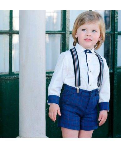 e90f95ebb2 Conjunto para niños desde 2 años hasta 8 años. Camisa blanca acompañada por pantalón  corto