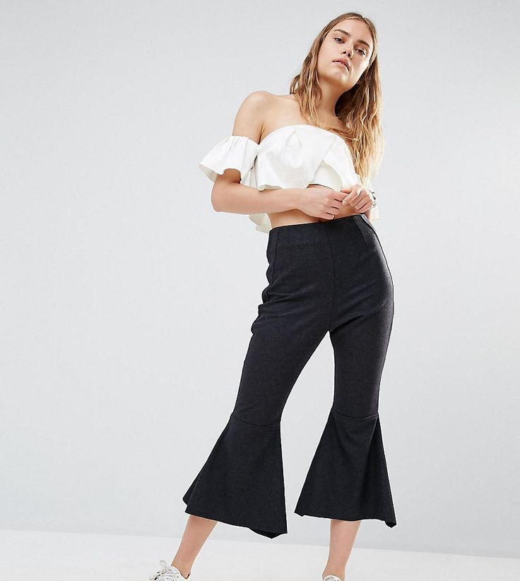 House Of Sunny Crop Kick Flare Pants - Black #womentrousers