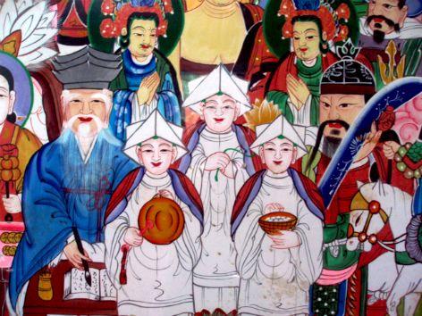 Mushindo ( 무신도 巫神圖)- Samshin Halmeoni Birth Spirits (삼신할머니) with other shamanic deities