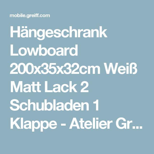 Hängeschrank Lowboard 200x35x32cm Weiß Matt Lack 2 Schubladen 1 Klappe - Atelier Greiff