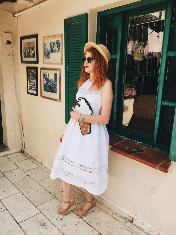 Day in Zikhron-Yaakov. Dress-Asos Shoes- Juicy Couture  Bag- New Look (Asos) Hat- H&M Glasses-Rayban @roxyjanuszko #ootd #whitedress#strawhat#ginger#redhead