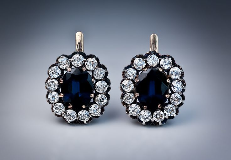 Antique sapphire and diamond cluster earrings. Made between 1908 and 1917 in Russia