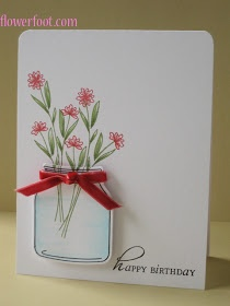 Mason jar and flowers card idea.
