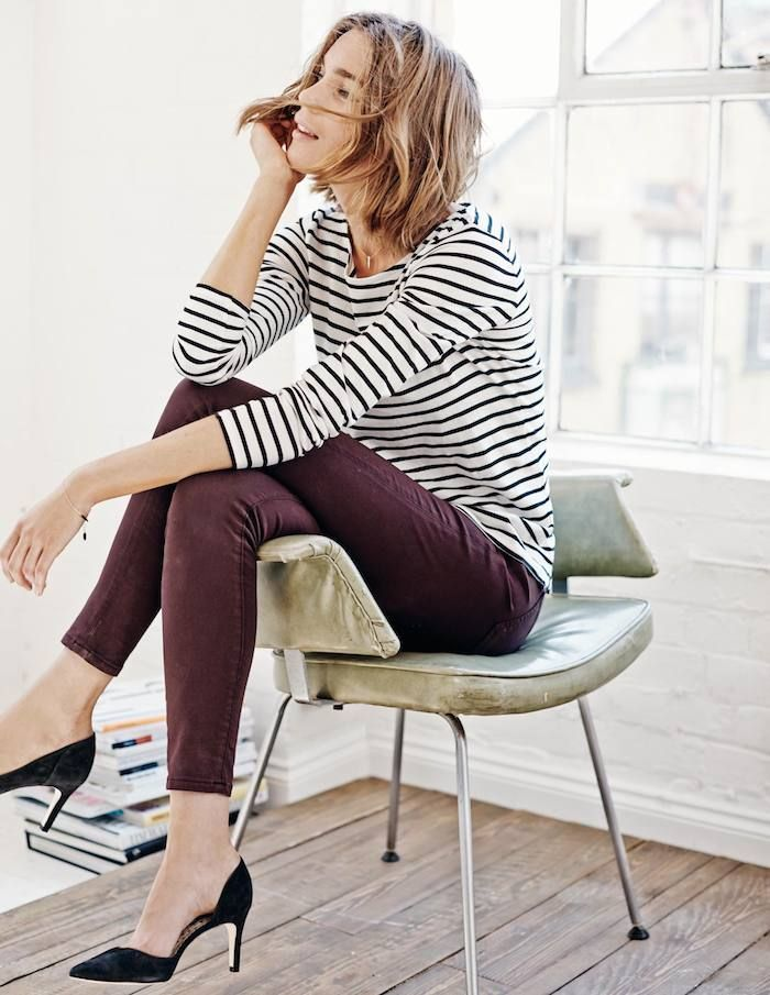 I really like this long sleeve breton and the color of the pants. I could stand to broaden my pants spectrum beyond dark wash denim.