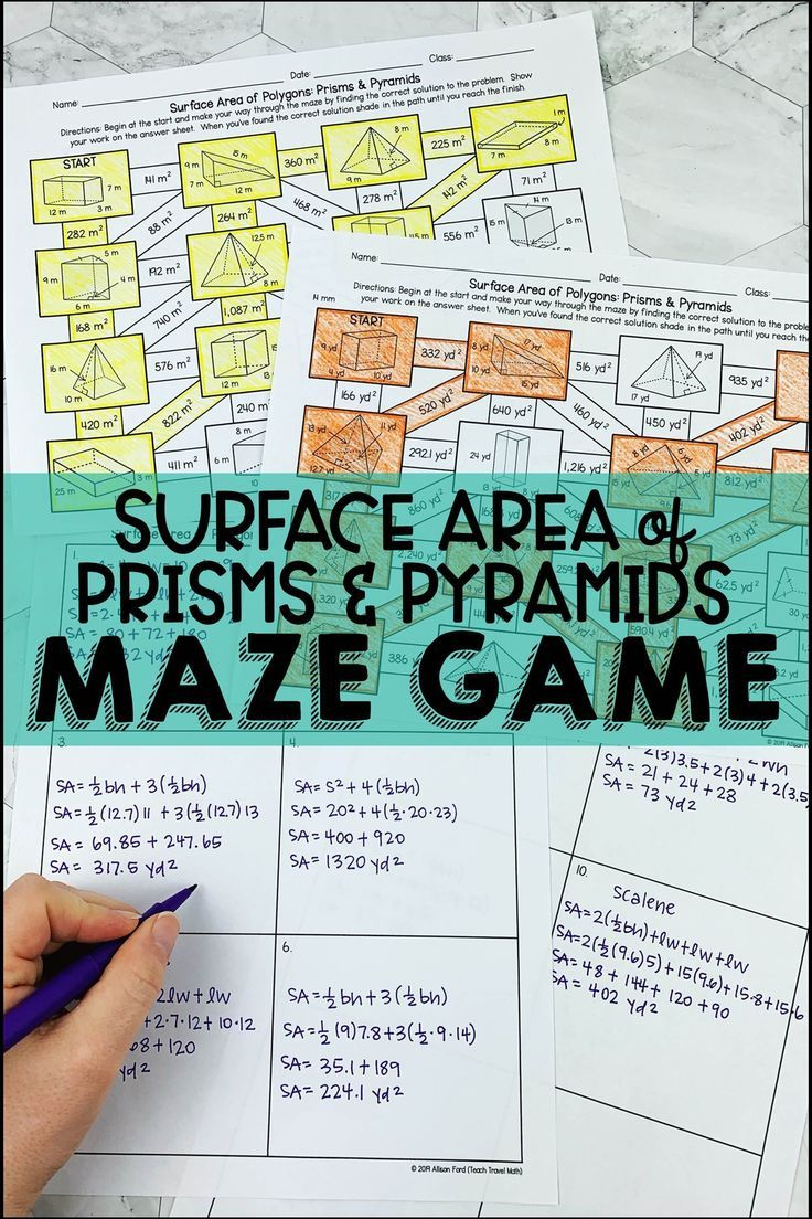 Surface Area Of Prisms And Pyramids Maze Math Games Middle School Maze Game Fun Math Activities
