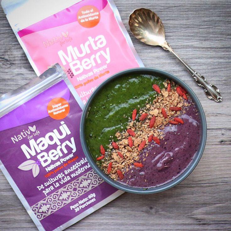 Buenos días! Hoy es lunes de empezar con ánimo y energía la semana! Mi desayuno fue este bowl con smoothies de colores {verde: plátano, espinaca, spirulina y una cucharada de whey protein; morado: plátano, semillas de cáñamo, arándanos y maqui berry en polvo de #NativForLife} y por arriba lleva granola y gojiberries.  Más recetas en http://www.instagram.com/minrebolledo  #healthy #smoothies #green #superfood #fit #breakfast #saludable #desayuno #batidos