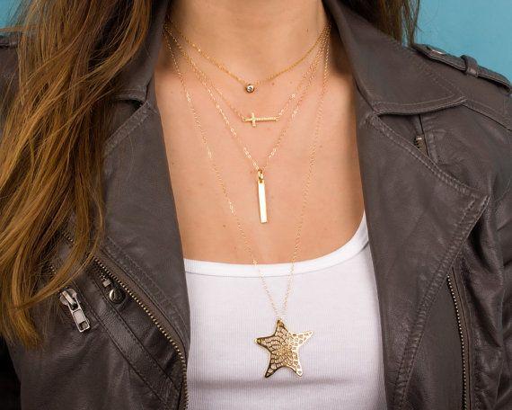 Collar de estrella de oro collar largo 14k oro llenada