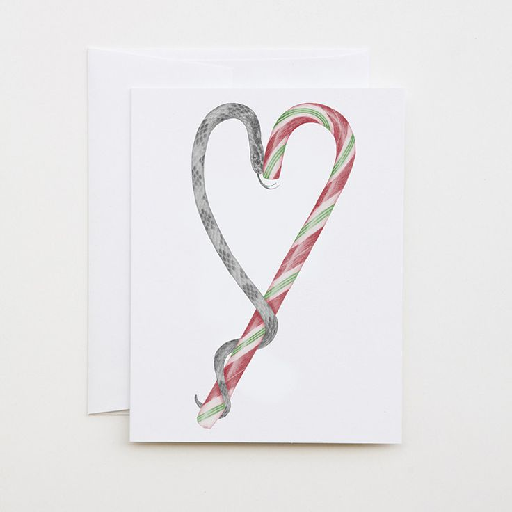 Archie Jupiter Candycane Corn Snake by lecanotrouge. Note or Greeting Card for giving or keeping (the perfect size and price for framing in a fun little art collection!)