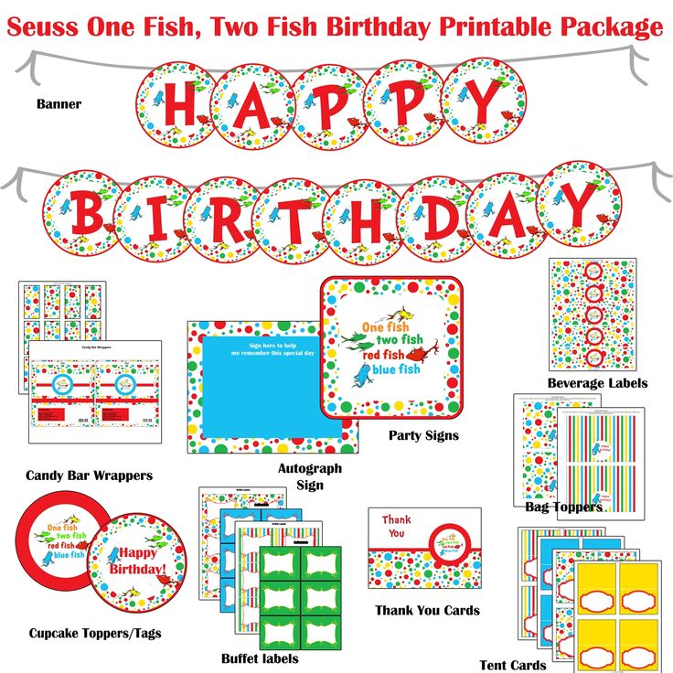 Dr Seuss One Fish Two Fish Birthday Party Printable Package Red Blue Alexander S 1st