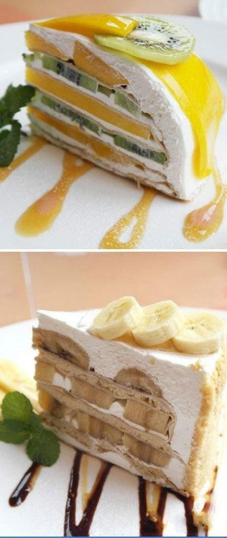Thousand-layer cake with fruit