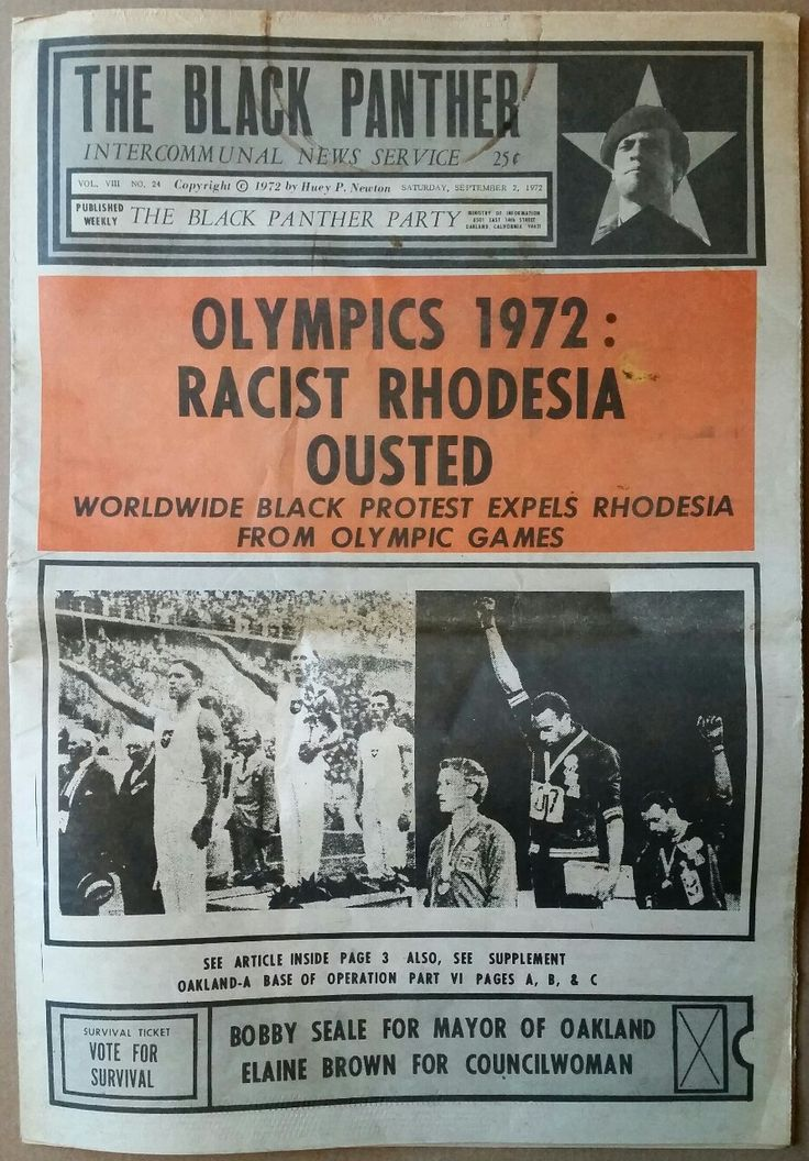 """""""Olympics 1972: Racist Rhodesia Ousted. Worldwide Black Protest Epels Rhodesia from Olympic Games"""" The Black Panther, September 1, 1972"""