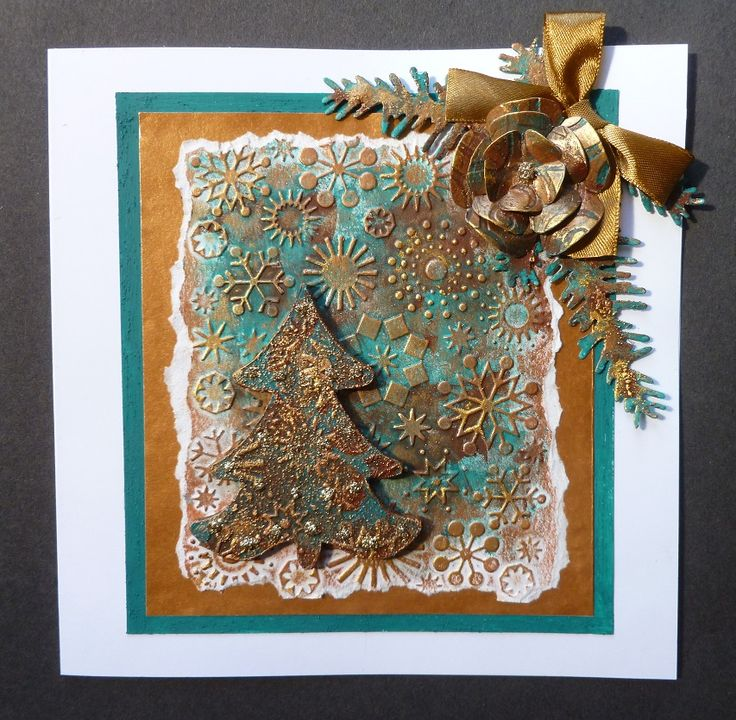 Rusty Patina Christmas card, - Imagination Craft's - Bronze & Inca gold Alchemy Waxes.  Rustique & Verdigris Rusty Patina paints.  Magi-bond glue.  MDF Christmas tree.  Gold gilt Detail Sparkle.  Snowflake embossing folder.   Marianne Design Flower die and pine branch.  August 2016.   Designed by Jennifer Johnston.