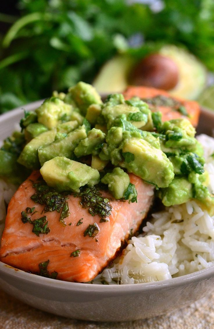 Avocado Salmon Rice Bowl. from willcookforsmiles.com