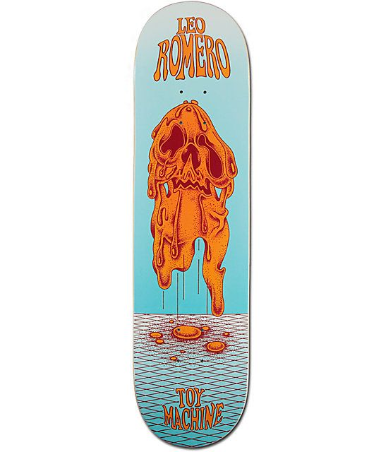 Melt faces at the skateparks when they catch a glimpse of your new Toy Machine Romero Face Melt. Get shredding like Leo with his orange melting face graphic on a light blue deck that is constructed with a durable 7-ply maple construction and a medium conc