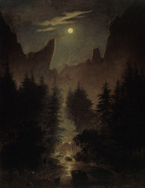 """Caspar David Friedrich (1825): """"Jedes echte Kunstwerk wird in geweihter Stunde empfangen und in glücklicher geboren, oft dem Künstler unbewußt, aus innerem Drange des Herzens."""""""