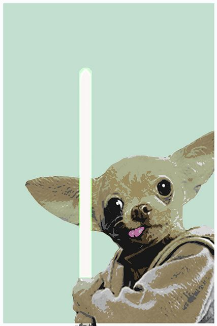 yoda chihuahua art - just made me laugh and think of Bandit!