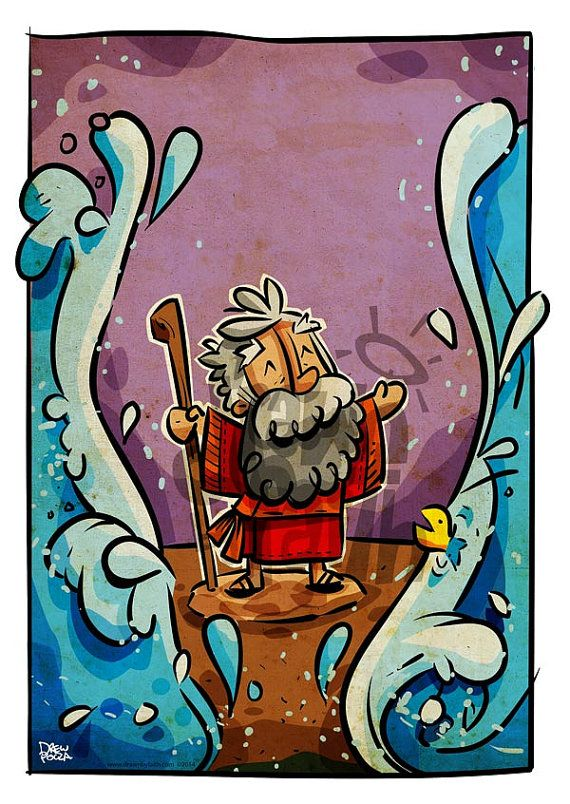 Moses Parting the sea by DrawnbyFaith on Etsy, $4.99