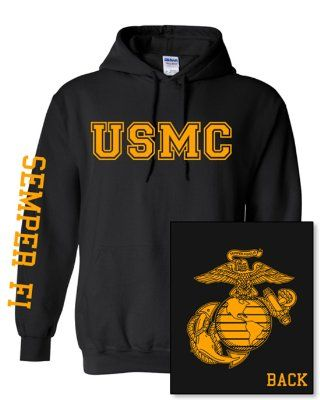United States Marine Corps Fight Hoodie, USMC, Black - Medium:Amazon:Everything Else