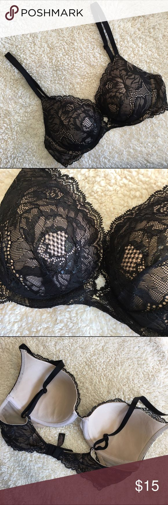 Victoria Secret - Plunge Victoria Secret Plunge Push Up Size 34C Has a jewel in the middle of cups very pretty lace overlay lightly worn condition PINK Victoria's Secret Intimates & Sleepwear Bras