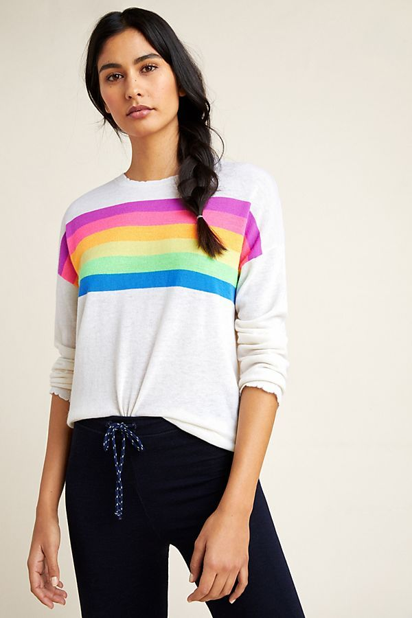 f451c5efac7b65 Sundry Rainbow-Striped Sweater in 2019 | color palettes | Sweaters ...