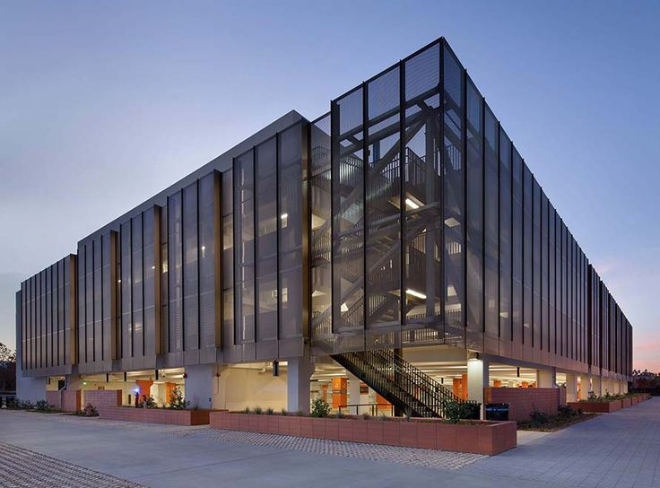Photograph of the perforated metal panel screen system at Stanford University Parking Garage
