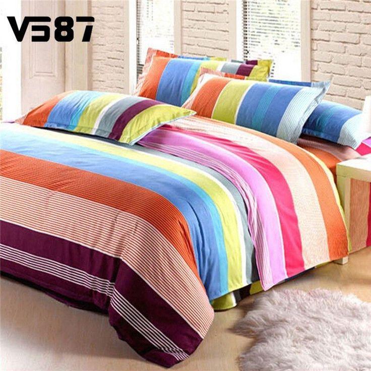 Colorful Rainbow Stripes Bedding Sets Single Double King Size Bed Pillow Cases Bedsheet Bedclothes Quilt Duvet Cover Set