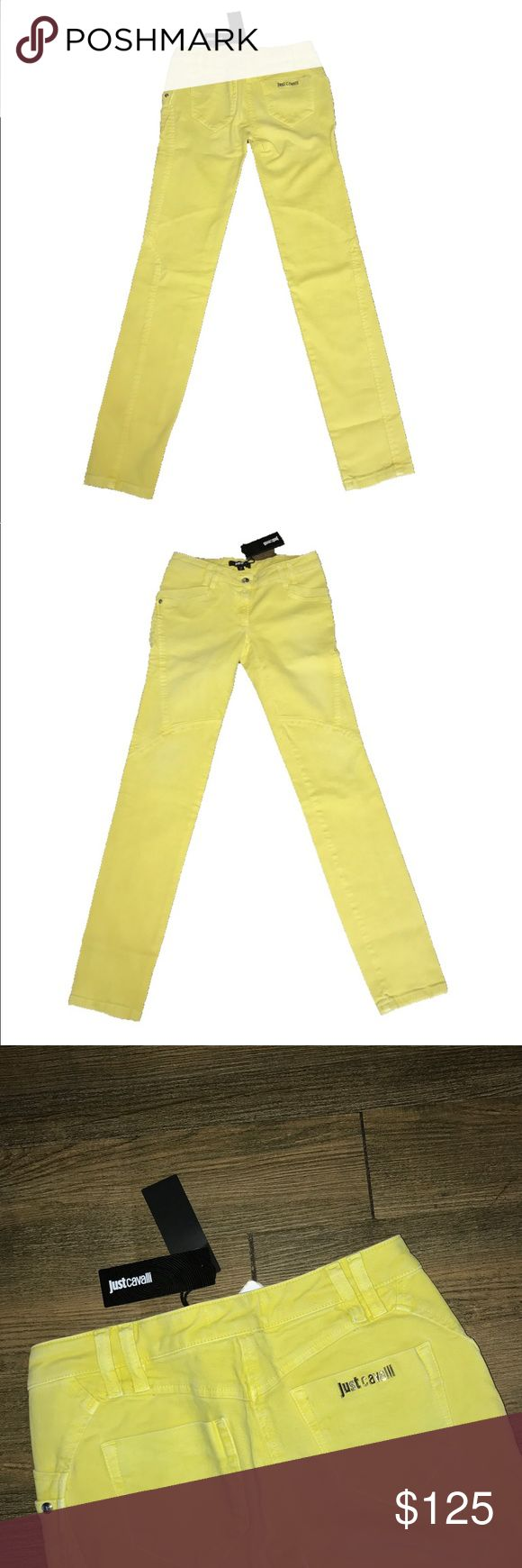 "New Authentic Just Cavalli skinny jeans sz 26 New with tags Authentic Just Cavalli yellow factory distressed skinny jeans sz 26. Waist measures 13.5 inches flat Front rise 7 inches inseam 29"" inches Just Cavalli Jeans Skinny"