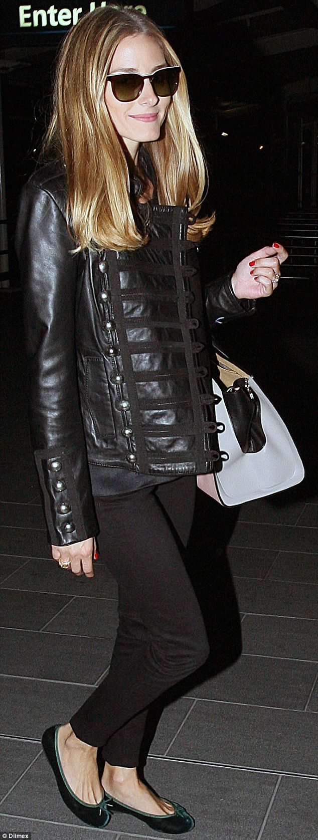 Fashionista: Olivia Palermo touched down in Sydney on Sunday night in a sleek all-black ensemble