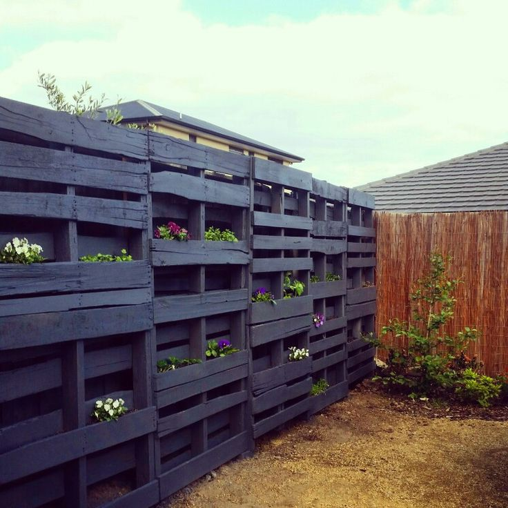 Vertical garden using pallets.