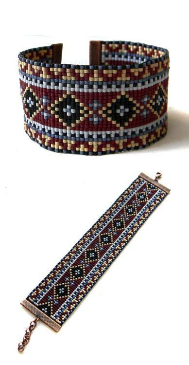 Colorful beadwoven bracelet - ethnic style beadwork jewelry - bead loom bracelet -beaded cuffhttps://www.etsy.com/listing/208696880/colorful-beadwoven-bracelet-ethnic-style (Pattern is available here:https://www.etsy.com/listing/208694692/loom-bead-pattern-square-stitch-pattern )