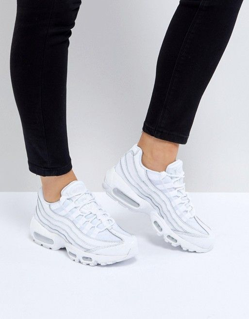 9672a2571cd Nike Air Max 95 Trainers In All White | O U T F I T S | Nike air max, Nike, Nike  air max white