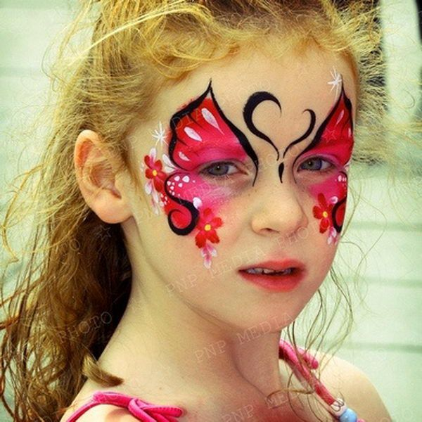 Red Butterfly. Cool Face Painting Ideas For Kids, which transform the faces of little ones without requiring professional quality painting skills.