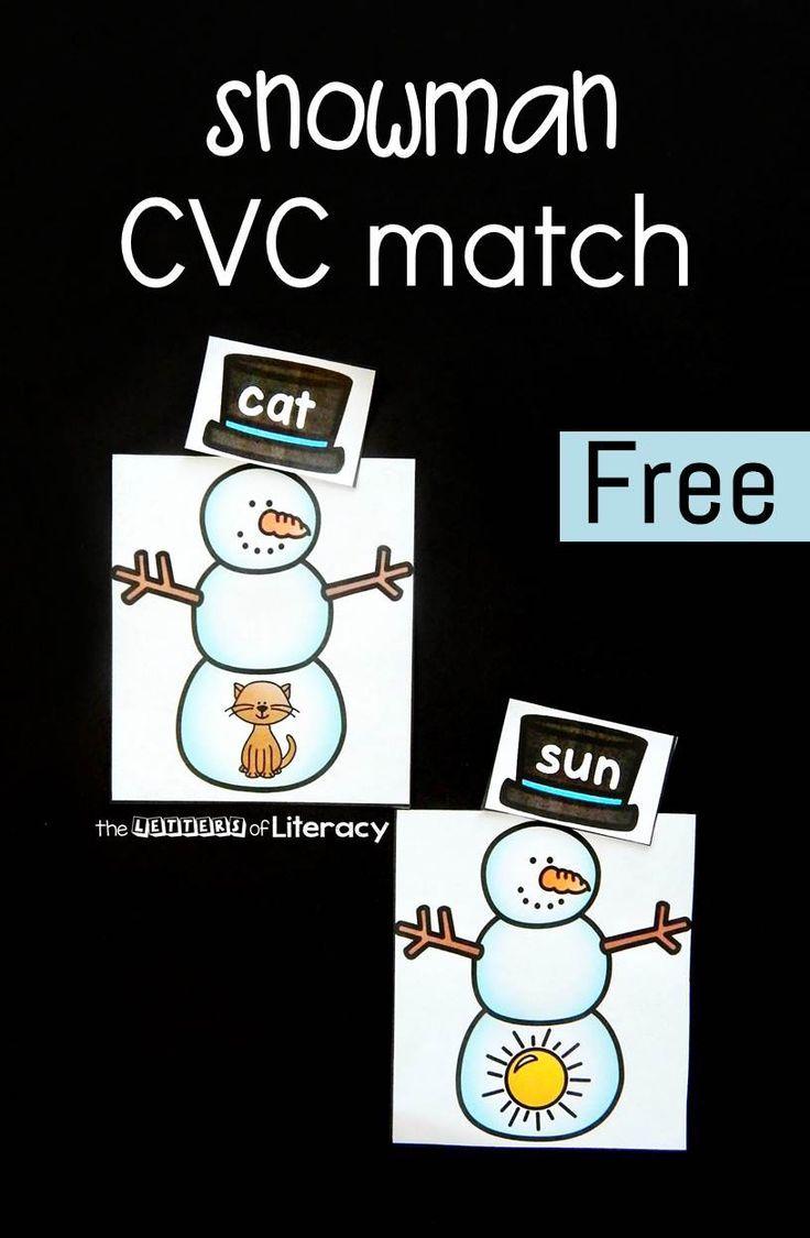Snowman CVC word match! A fun winter activity to add to literacy centers for kindergarten and first grade kids! #winterliteracycenters #cvcwords