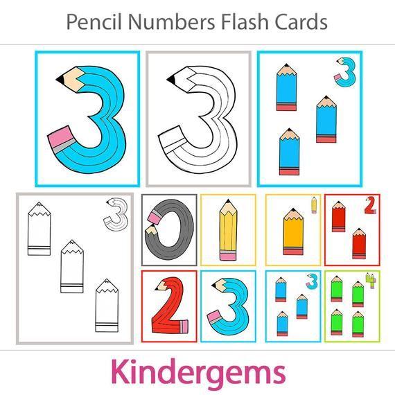 Pencil Numbers Learning Pack Preschool Kindergarten Etsy Learning Numbers Math Flash Cards Kindergarten