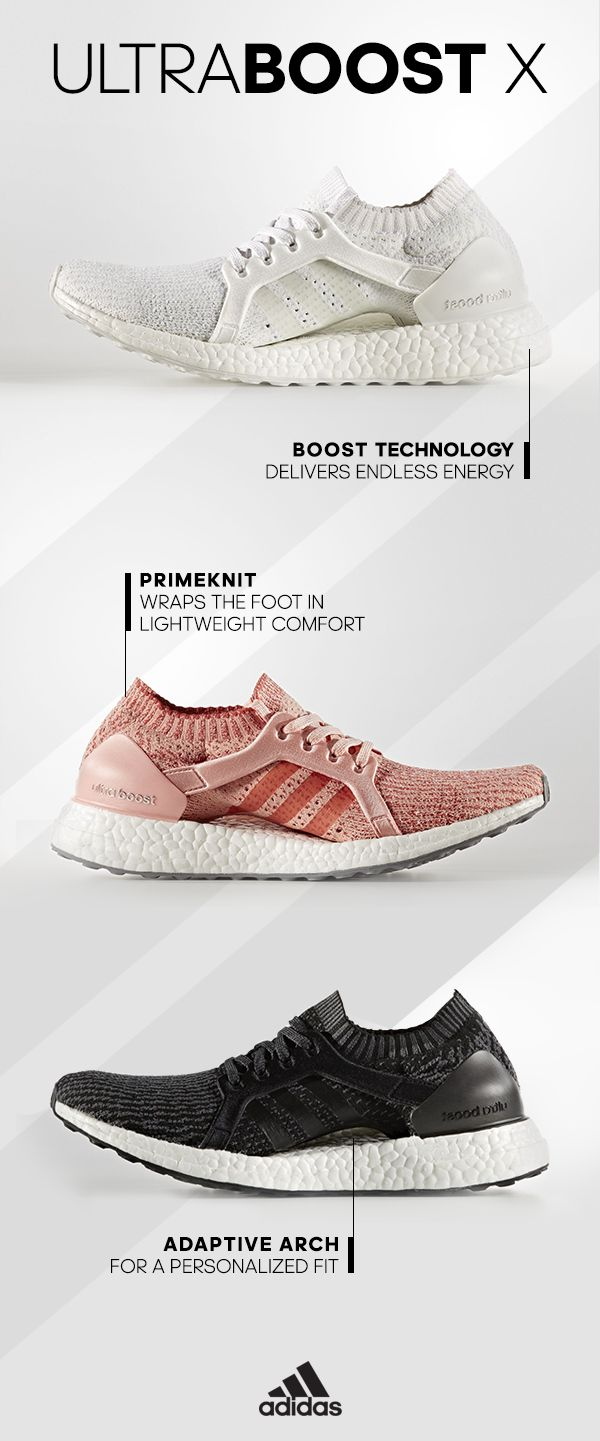 The light, energy-fueled ride of our most responsive running shoe gets optimized for a woman's foot and stride in the UltraBOOST X. Find it today at adidas.com/UltraBOOSTX.