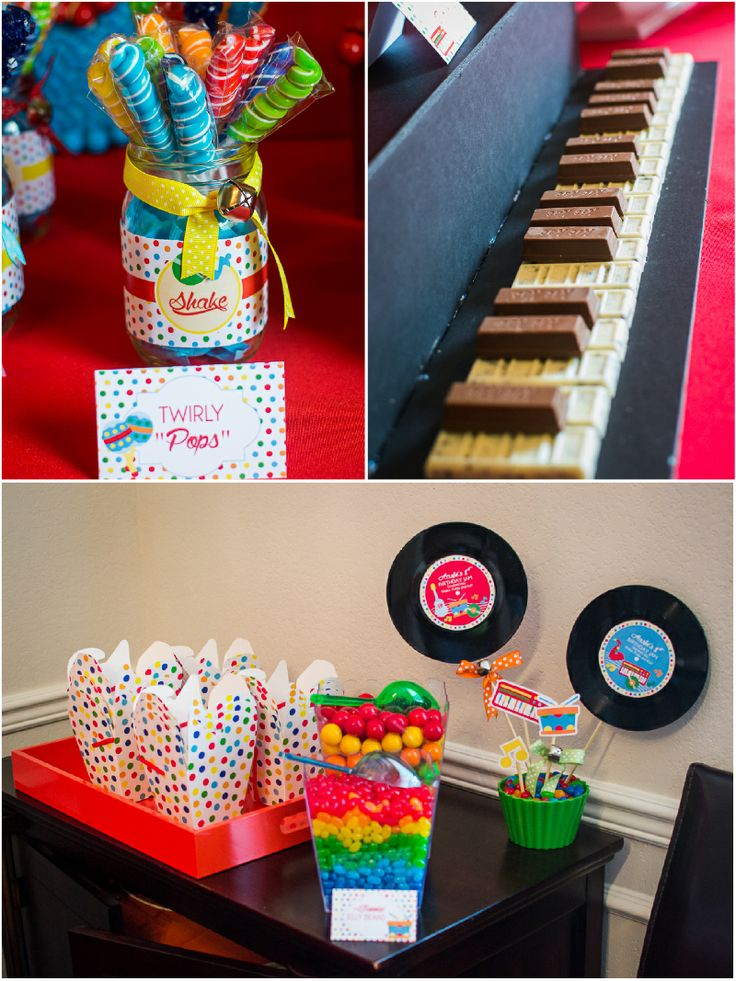 Music theme birthday jam party ideas with DIY decorations, printables, food and favors!