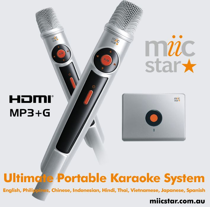 Miic Star arrives in Australia, portable with 2 wireless microphones with HDMI and RCA. Choose from many different languages.