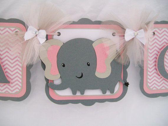 elephant baby shower banner pink chevron