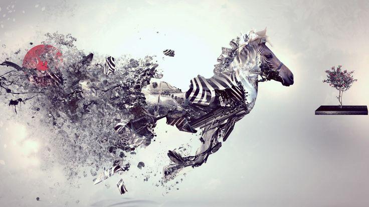 Скачать обои зебра, креатив, стиль, обои, wallpaper, creative, раздел стиль в разрешении 1600x900