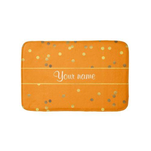 Faux Gold Foil Confetti Orange Bath Mat