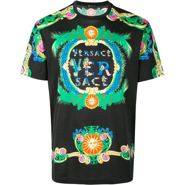 Versace Cotton T-Shirt ($715) ❤ liked on Polyvore featuring men's fashion, men's clothing, men's shirts, men's t-shirts, black, versace mens shirt, men's flower print shirt, mens floral t shirts, mens short sleeve t shirts and floral pattern mens shirts