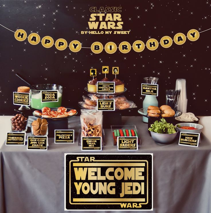 FULL PARTY SET - Star Wars Classic Printable Birthday Party Decor - Gold Yellow Black. $25.00, via Etsy. - Just cange it to baby shower!