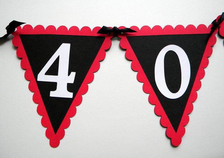 40th Birthday Pennant Banner - 40 ROCKS, Red, Black, White or Your choice of colors. $14.00, via Etsy.