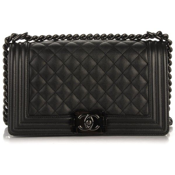 CHANEL Caviar Quilted Medium Boy Flap So Black ❤ liked on Polyvore featuring bags, handbags, shoulder bags, quilted chain strap shoulder bag, leather handbags, chain shoulder bag, chanel purse and metallic leather handbags