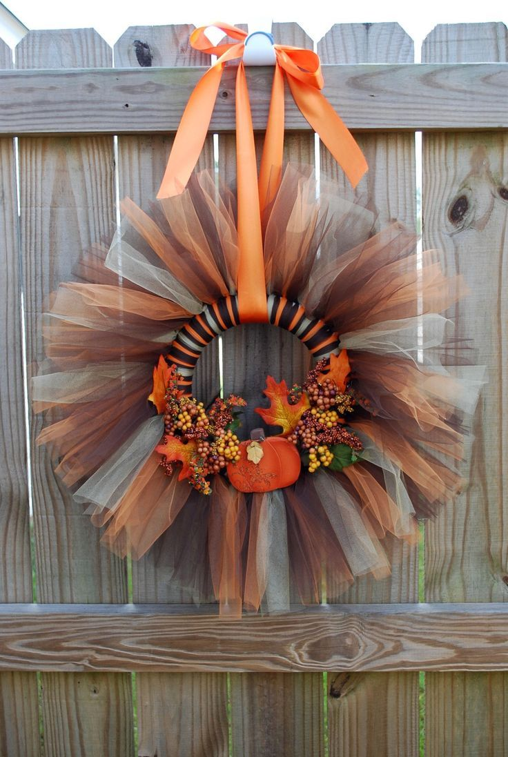 etsy wreaths   Fall Tulle Wreath by JaneJanes on Etsy