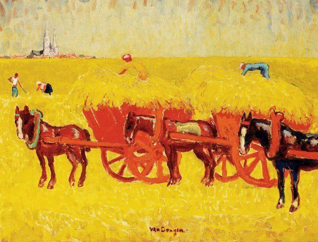 Kees van Dongen Charrettes de foin dans les champs