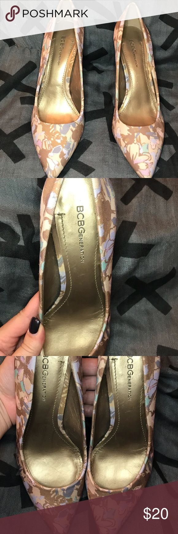 """BCBG pumps These shoes are very gently worn and show very little signs of wear. They are a very pretty floral design with a low heel. 3"""". Can take additional pictures if requested. BCBG Shoes Heels"""
