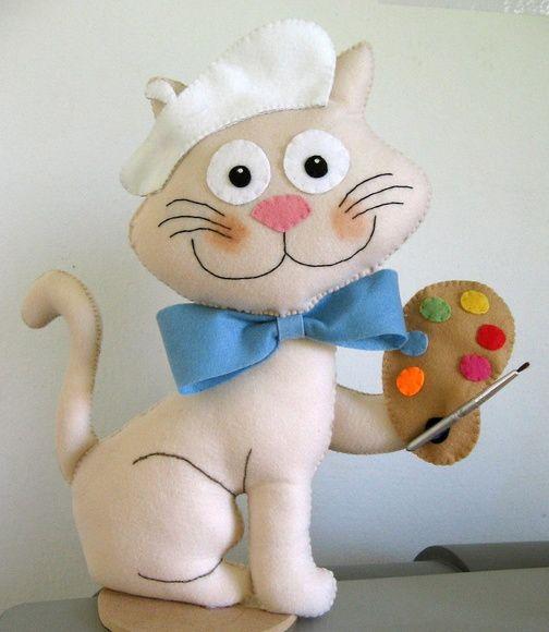 Boneco Gatinho Pintor, confeccionado em feltro.