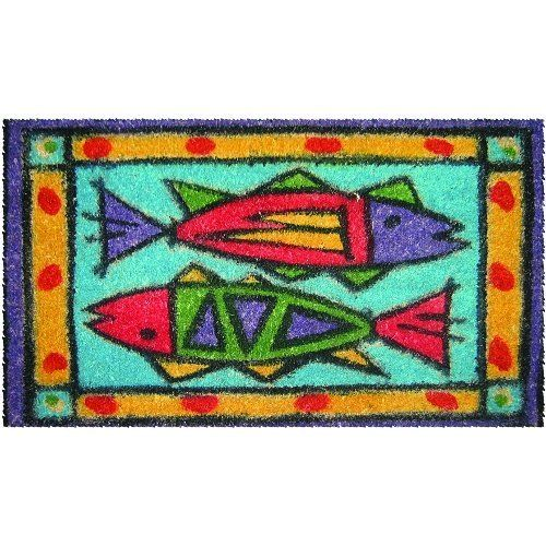 "Entryways Passion Fish Hand Woven Coir Doormat by Entryways. $28.43. This mat is hand stenciled with permanent fade-resistant dyes. Hand made from all-natural coconut fiber which is an excellent dirt-trapper; 3/4"" thickness. 18 in x 30 in. This beautifully designed hand-woven doormat will enhance your entry way or patio. It's made from the highest quality all natural coconut fiber.. Save 29%!"